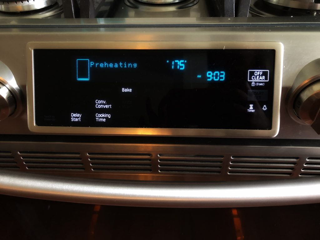 The oven preset to 350 degrees to cook like a chef at home