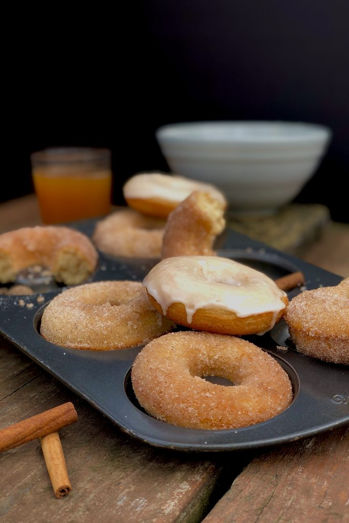 baked apple cider donuts tossed in cinnamon sugar