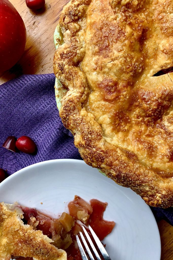 Cranberry Apple Pie with a flaky buttery crust.