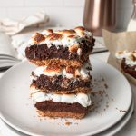 s'mores brownies with marshmallows, graham crackers, and chocolate